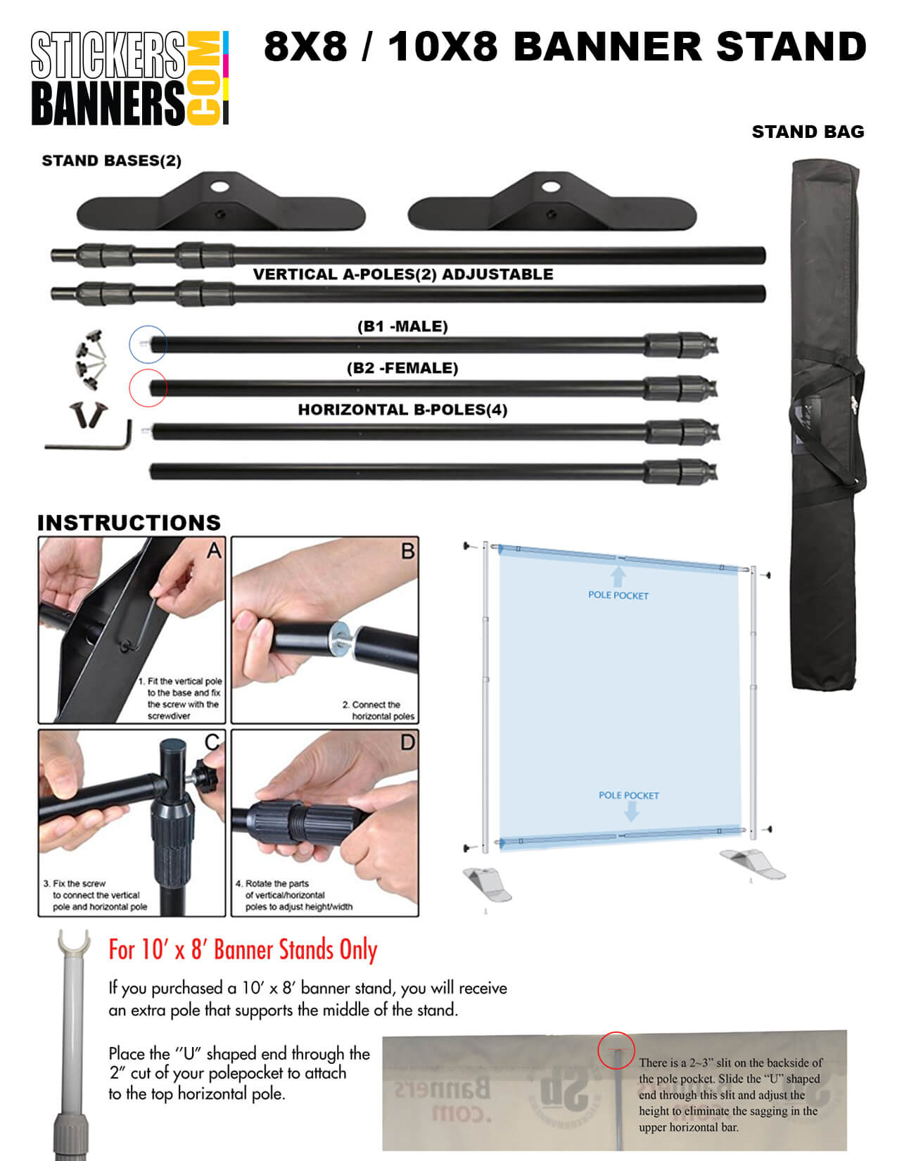 8ft x 8ft and 8ft x 10ft Banner Stand Assembly Instructions